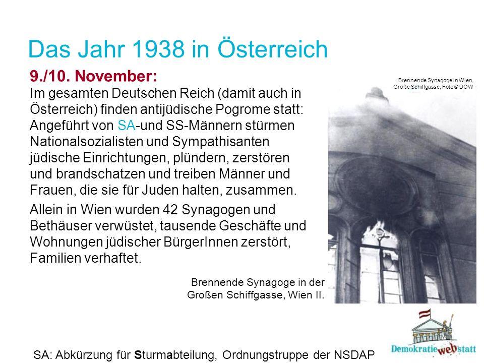 Das Jahr 1938 in Österreich 9./10. November: Im gesamten Deutschen Reich (damit auch in Österreich) finden antijüdische Pogrome statt: Angeführt von -