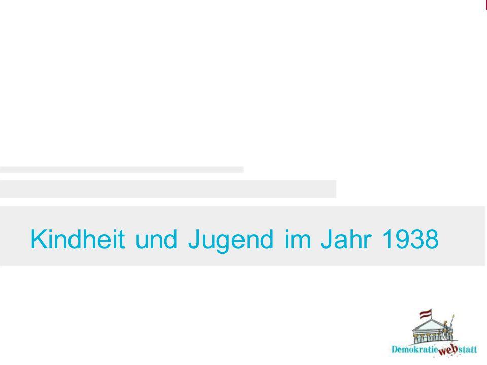 Kindheit und Jugend im Jahr 1938