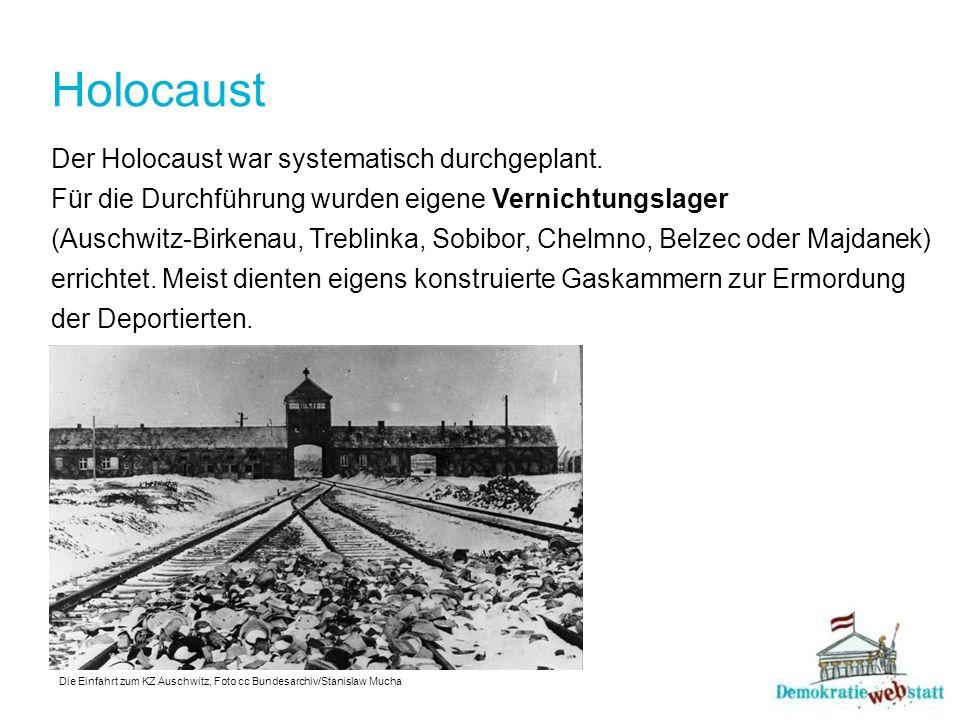 Holocaust Der Holocaust war systematisch durchgeplant. Für die Durchführung wurden eigene Vernichtungslager (Auschwitz-Birkenau, Treblinka, Sobibor, C