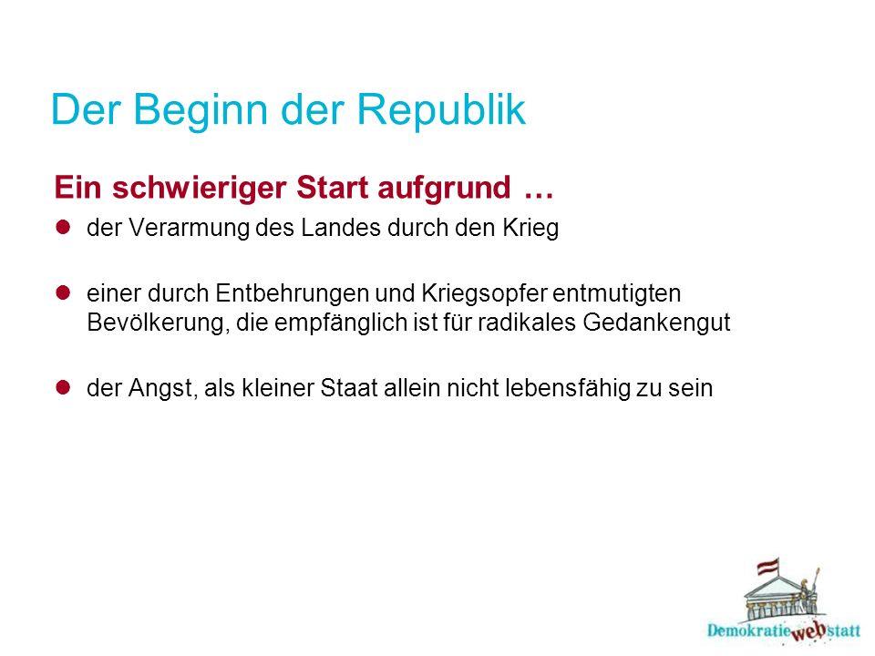 Der Beginn der Republik Staatsgründung Schon im Oktober 1918 gründen Abgeordnete des deutschsprachigen Rumpfes der Monarchie die Republik Deutschösterreich.