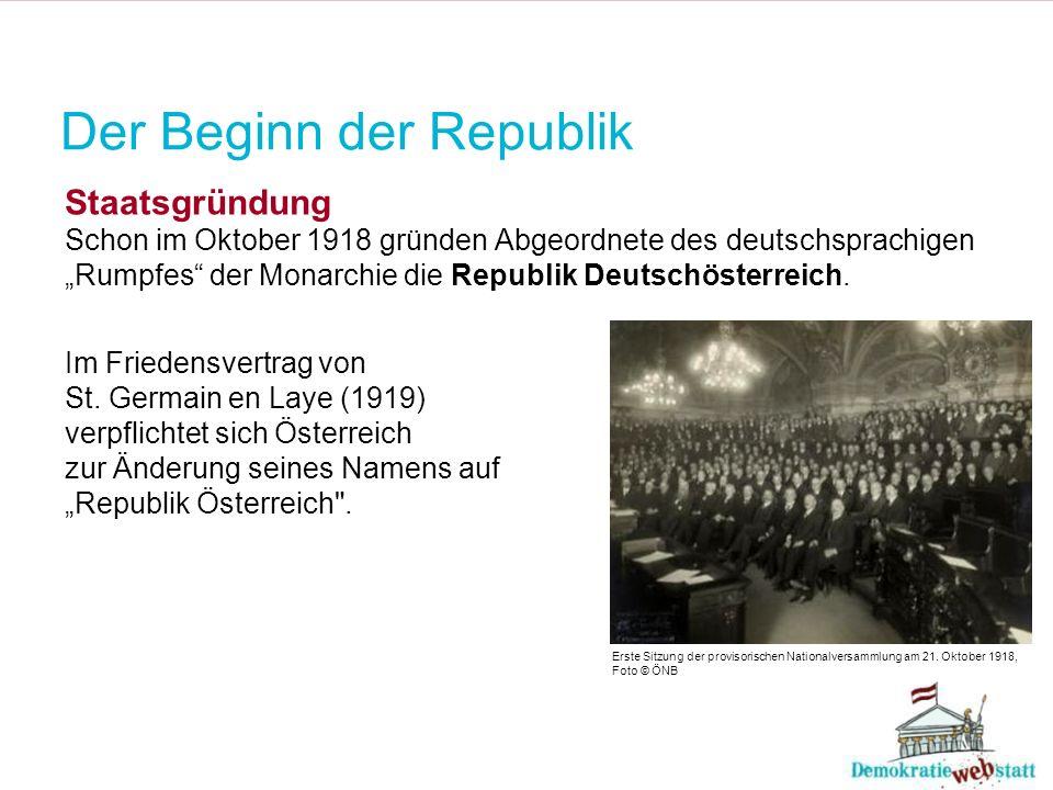 Der Beginn der Republik Staatsgründung Schon im Oktober 1918 gründen Abgeordnete des deutschsprachigen Rumpfes der Monarchie die Republik Deutschöster