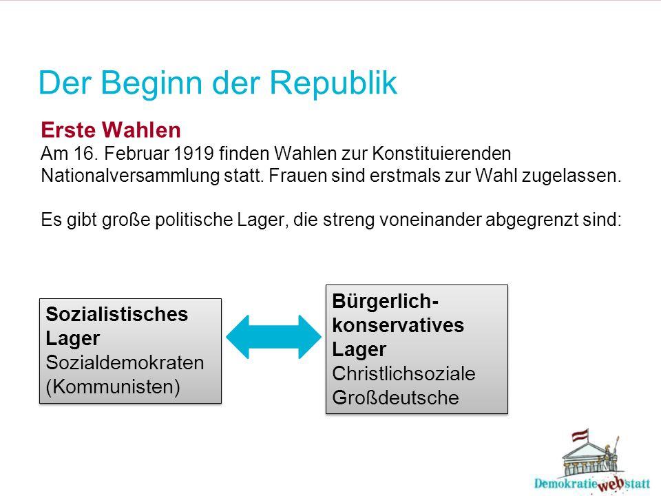 Der Beginn der Republik Erste Wahlen Am 16. Februar 1919 finden Wahlen zur Konstituierenden Nationalversammlung statt. Frauen sind erstmals zur Wahl z