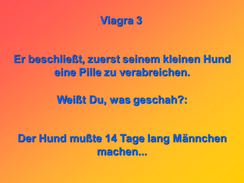 Viagra 3 Ein Mann kauft sich Viagra. Zu Hause verläsest ihn der Mut, weil in der Presse so viele negative Meldungen erschienen sind.