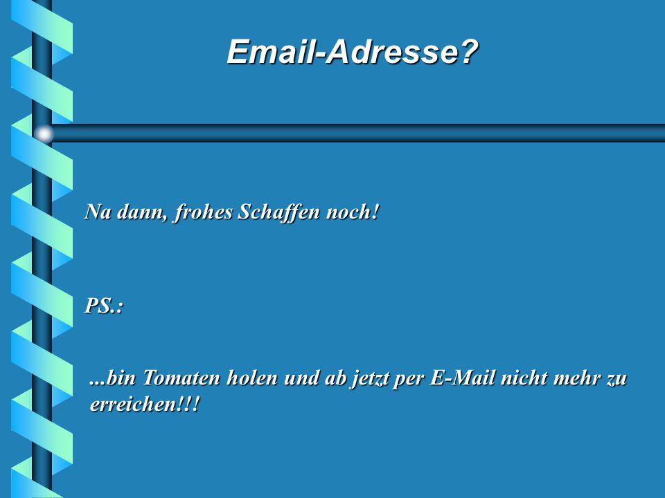 Email-Adresse? Lehre Nr. 3: Wenn Du diese Geschichte per E-Mail erhalten hast, sind die Chancen Putzfrau zu werden größer als die, Millionär zu werden