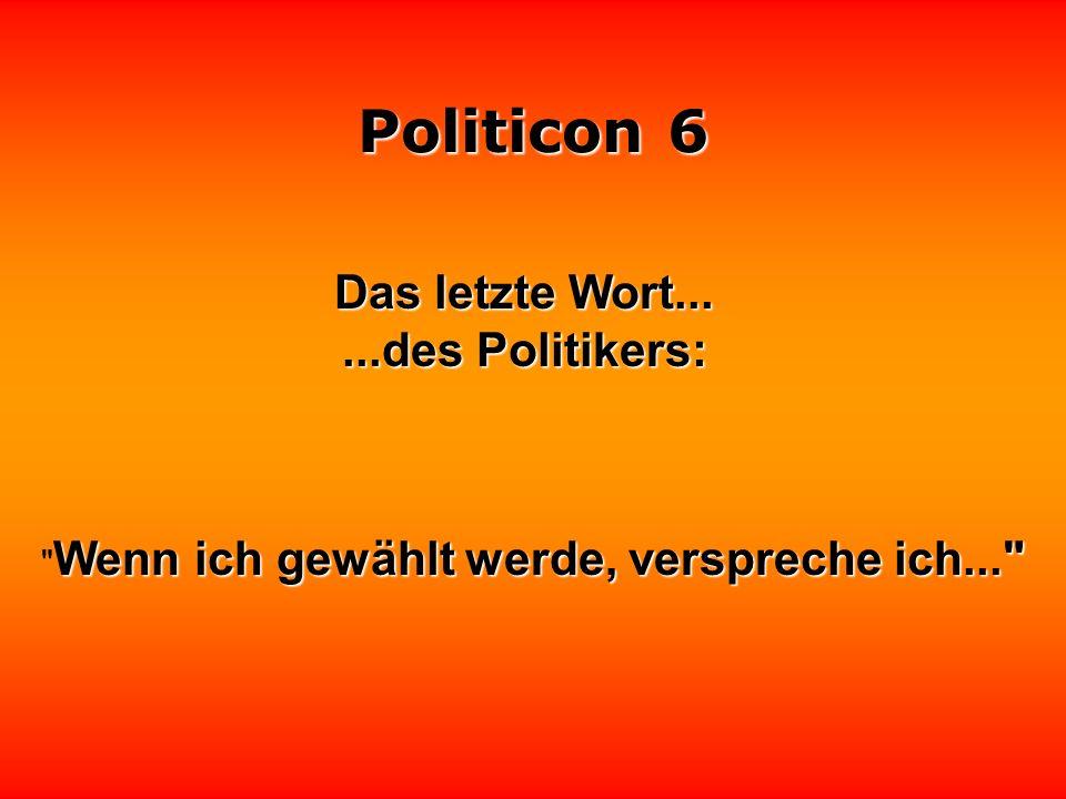 Politicon 6 Das vorletzte Wort......des Politikers: Zu keiner Zeit bestand irgendeine Gefahr für die Bevölkerung!