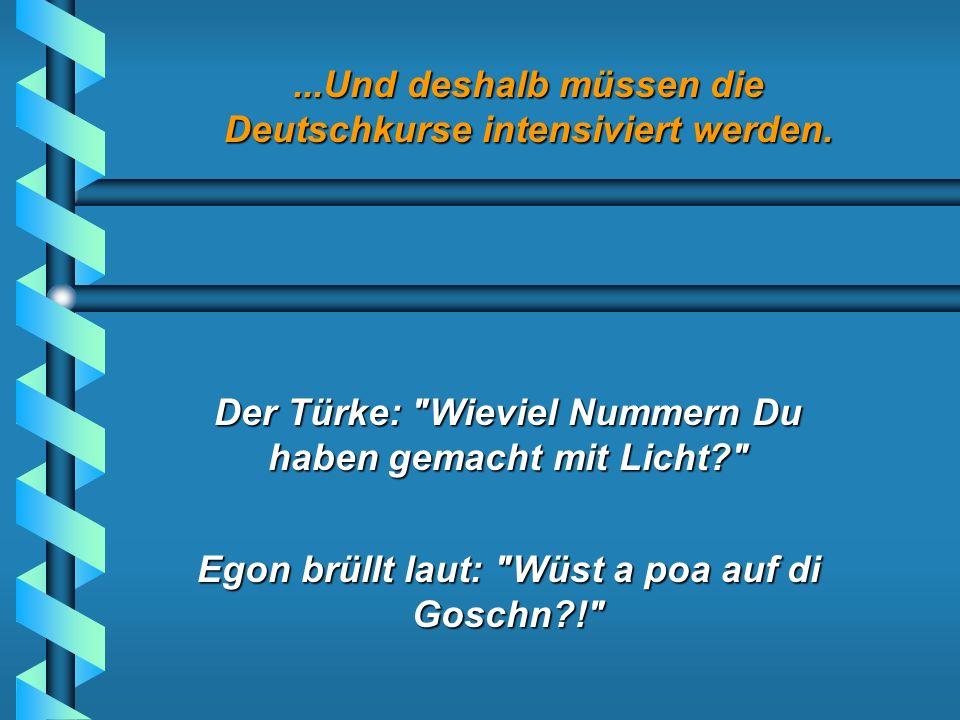 ...Und deshalb müssen die Deutschkurse intensiviert werden. Die Frau empört: