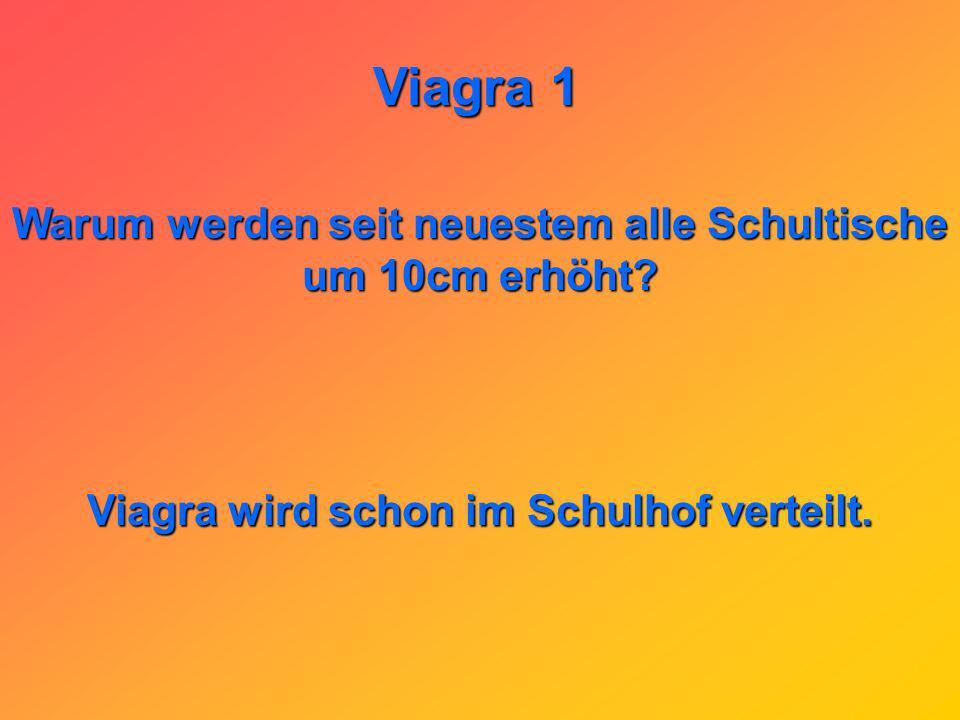 Viagra 1 Als Nebenwirkung von Viagra ist das mögliche und vorübergehende Nachlassen der Sehkraft der Augen bekannt: Nach dem Viagra-Rodeo sagt der Liebhaber nicht mehr Wie war ich ? Er sagt: Wo bin ich?