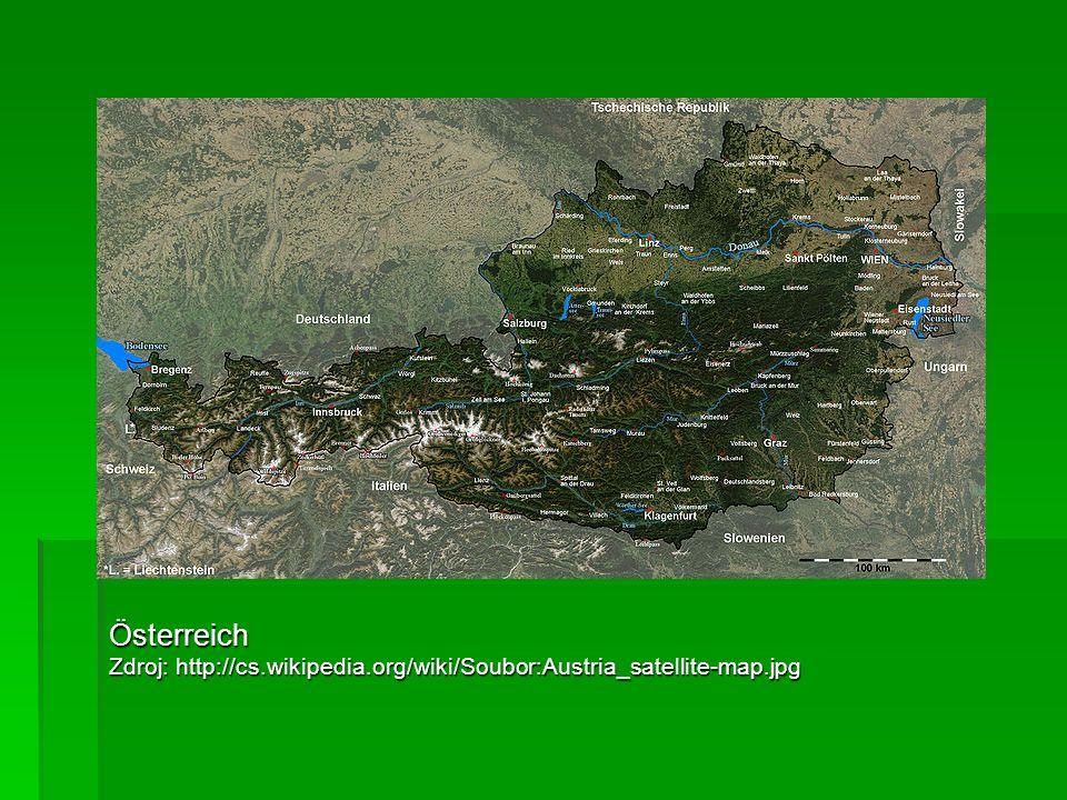 Österreich Zdroj: http://cs.wikipedia.org/wiki/Soubor:Austria_satellite-map.jpg