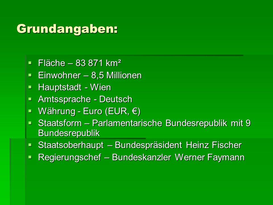 Grundangaben: Fläche – 83 871 km² Fläche – 83 871 km² Einwohner – 8,5 Millionen Einwohner – 8,5 Millionen Hauptstadt - Wien Hauptstadt - Wien Amtsspra