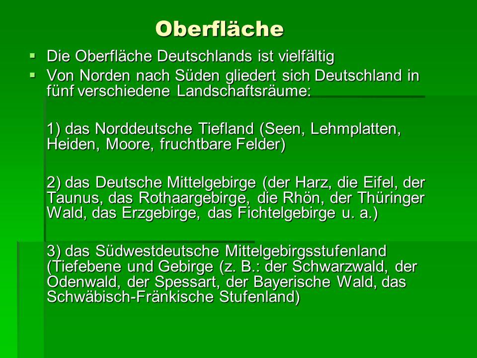 Oberfläche Die Oberfläche Deutschlands ist vielfältig Die Oberfläche Deutschlands ist vielfältig Von Norden nach Süden gliedert sich Deutschland in fü