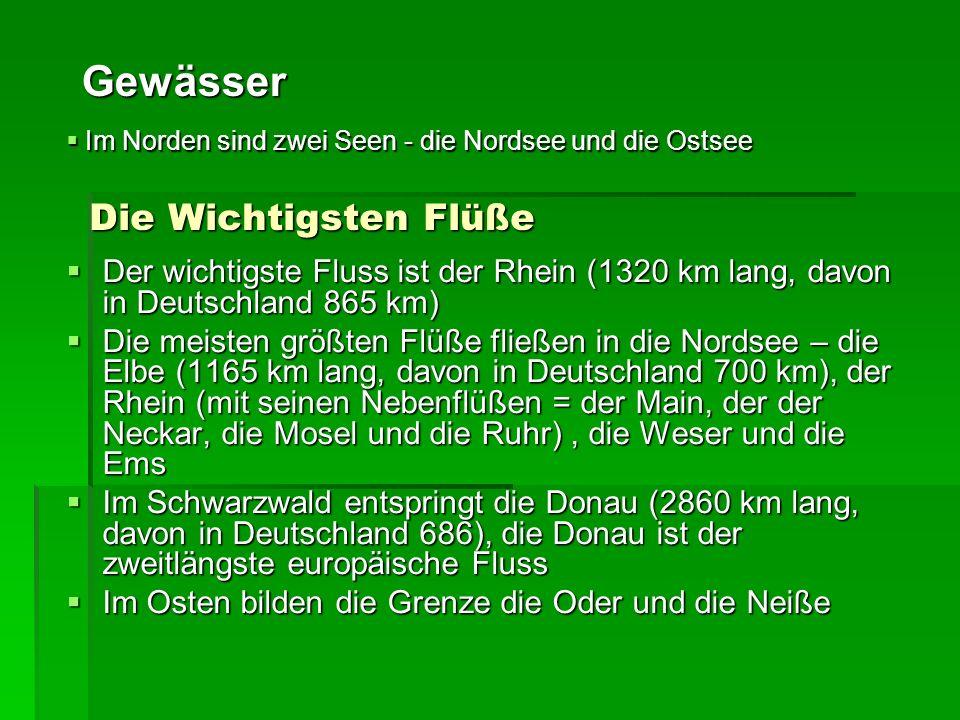 Die Wichtigsten Flüße Der wichtigste Fluss ist der Rhein (1320 km lang, davon in Deutschland 865 km) Der wichtigste Fluss ist der Rhein (1320 km lang, davon in Deutschland 865 km) Die meisten größten Flüße fließen in die Nordsee – die Elbe (1165 km lang, davon in Deutschland 700 km), der Rhein (mit seinen Nebenflüßen = der Main, der der Neckar, die Mosel und die Ruhr), die Weser und die Ems Die meisten größten Flüße fließen in die Nordsee – die Elbe (1165 km lang, davon in Deutschland 700 km), der Rhein (mit seinen Nebenflüßen = der Main, der der Neckar, die Mosel und die Ruhr), die Weser und die Ems Im Schwarzwald entspringt die Donau (2860 km lang, davon in Deutschland 686), die Donau ist der zweitlängste europäische Fluss Im Schwarzwald entspringt die Donau (2860 km lang, davon in Deutschland 686), die Donau ist der zweitlängste europäische Fluss Im Osten bilden die Grenze die Oder und die Neiße Im Osten bilden die Grenze die Oder und die Neiße Gewässer Im Norden sind zwei Seen - die Nordsee und die Ostsee Im Norden sind zwei Seen - die Nordsee und die Ostsee
