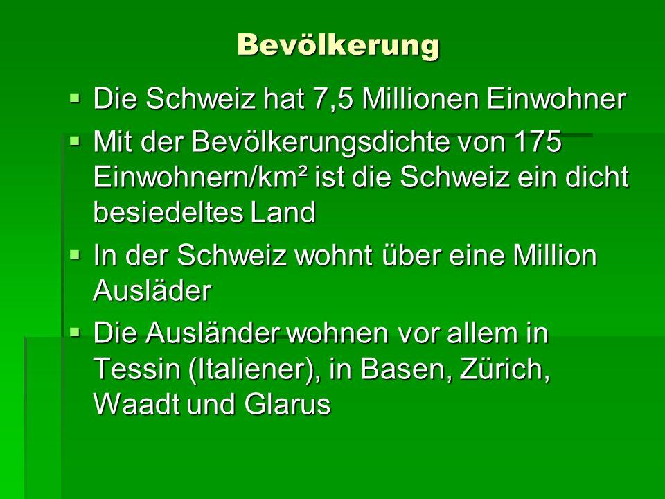 Bevölkerung Die Schweiz hat 7,5 Millionen Einwohner Die Schweiz hat 7,5 Millionen Einwohner Mit der Bevölkerungsdichte von 175 Einwohnern/km² ist die