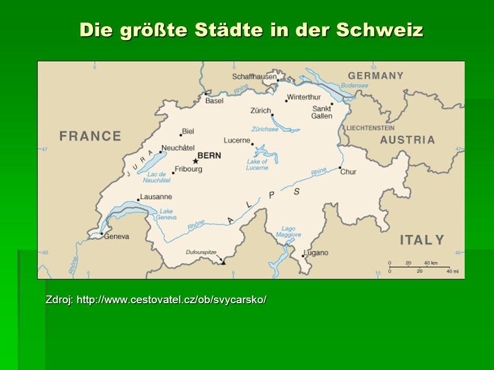 Die größte Städte in der Schweiz Zdroj: http://www.cestovatel.cz/ob/svycarsko/