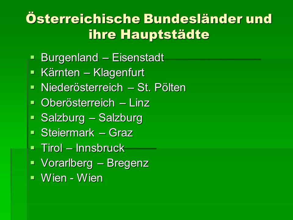 Österreichische Bundesländer und ihre Hauptstädte Burgenland – Eisenstadt Burgenland – Eisenstadt Kärnten – Klagenfurt Kärnten – Klagenfurt Niederöste