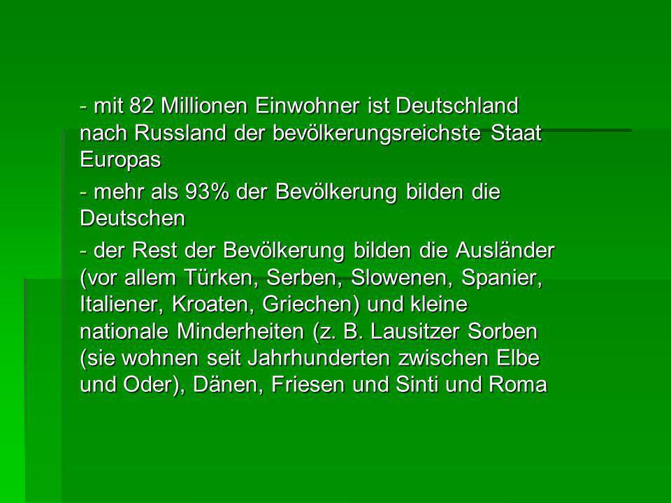 Deutschland gehört zu den Ländern mit der niedrigsten Geburtenrate der Welt Deutschland gehört zu den Ländern mit der niedrigsten Geburtenrate der Welt Lebenserwartung – Männer 74 Jahre und Frauen 80 Jahre Lebenserwartung – Männer 74 Jahre und Frauen 80 Jahre Religion – 46% der Bevölkerung sind protestantisch, 36% römisch-katholisch und 2% moslemisch Religion – 46% der Bevölkerung sind protestantisch, 36% römisch-katholisch und 2% moslemisch 90% der Bevölkerung wohnen in den Städten 90% der Bevölkerung wohnen in den Städten
