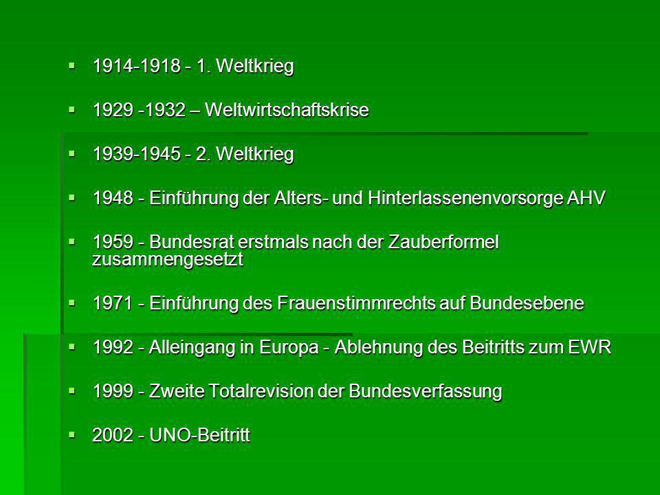 1914-1918 - 1. Weltkrieg 1914-1918 - 1. Weltkrieg 1929 -1932 – Weltwirtschaftskrise 1929 -1932 – Weltwirtschaftskrise 1939-1945 - 2. Weltkrieg 1939-19