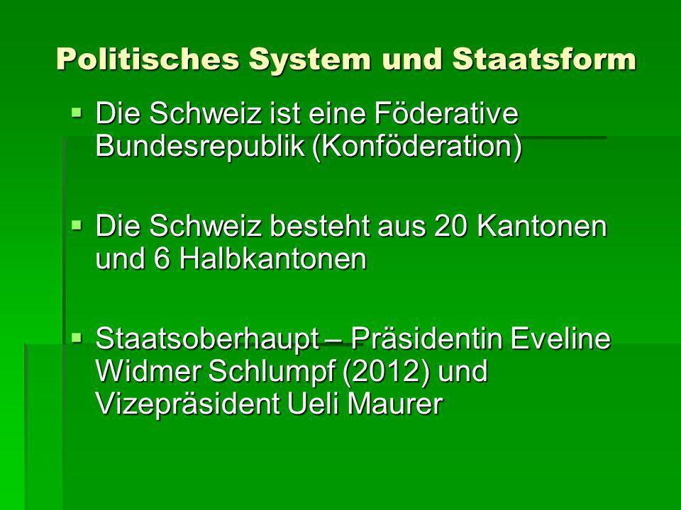 Politisches System und Staatsform Die Schweiz ist eine Föderative Bundesrepublik (Konföderation) Die Schweiz ist eine Föderative Bundesrepublik (Konfö