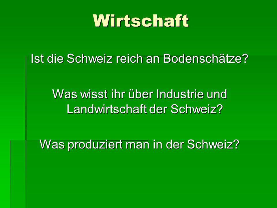 Wirtschaft Ist die Schweiz reich an Bodenschätze? Was wisst ihr über Industrie und Landwirtschaft der Schweiz? Was produziert man in der Schweiz?