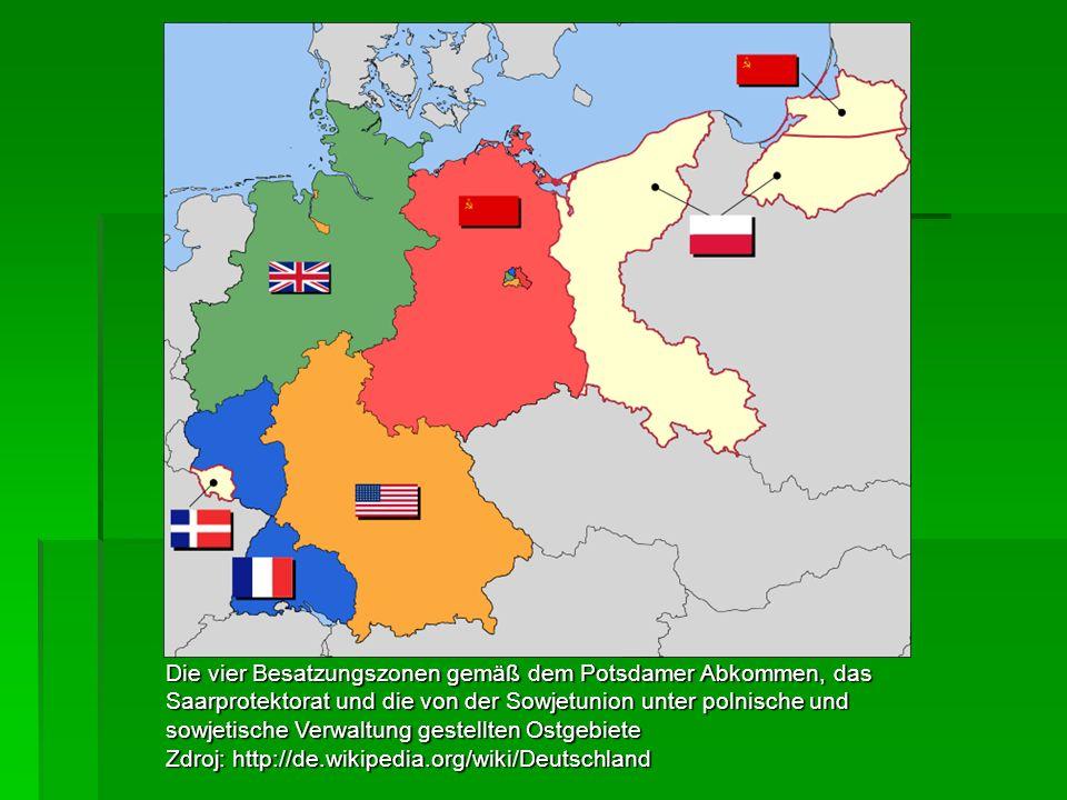 Die vier Besatzungszonen gemäß dem Potsdamer Abkommen, das Saarprotektorat und die von der Sowjetunion unter polnische und sowjetische Verwaltung gest
