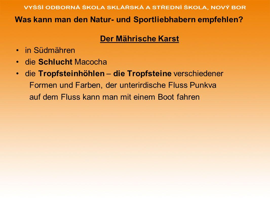 Westböhmen die berühmten Heilquellen und Kurorte den bekanntesten Kurort Karlsbad gründete der Sage nach Karl IV.,hierher kommen die Patienten aus aller Welt mit Magen-,Gallen- und Leberbeschwerden Marienbad- einer der schönsten Kurorte bei uns Franzensbad – für die Herzerkrankungen andere bekannte Kurorte finden wir in Třeboň ( Südböhmen), Teplice( Nordböhmen),Luhačovice ( Mähren) Was kann man den Kranken oder den Menschen nach der Operation empfehlen?