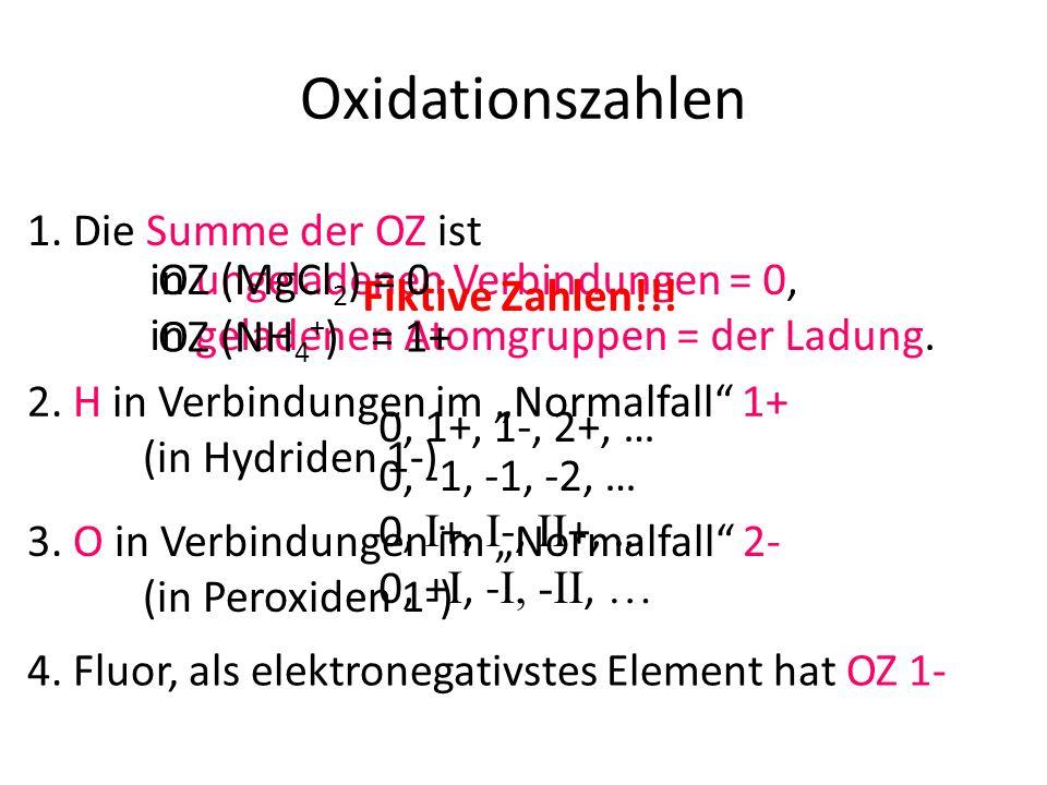 in ungeladenen Verbindungen = 0, in geladenen Atomgruppen = der Ladung. Oxidationszahlen 3. O in Verbindungen im Normalfall 2- (in Peroxiden 1-) Fikti