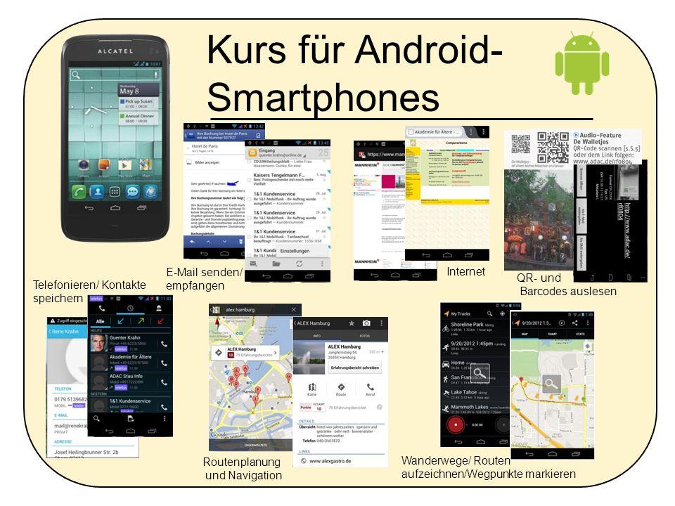 Kurs für Android- Smartphones E-Mail senden/ empfangen Routenplanung und Navigation Telefonieren/ Kontakte speichern Internet Wanderwege/ Routen aufze