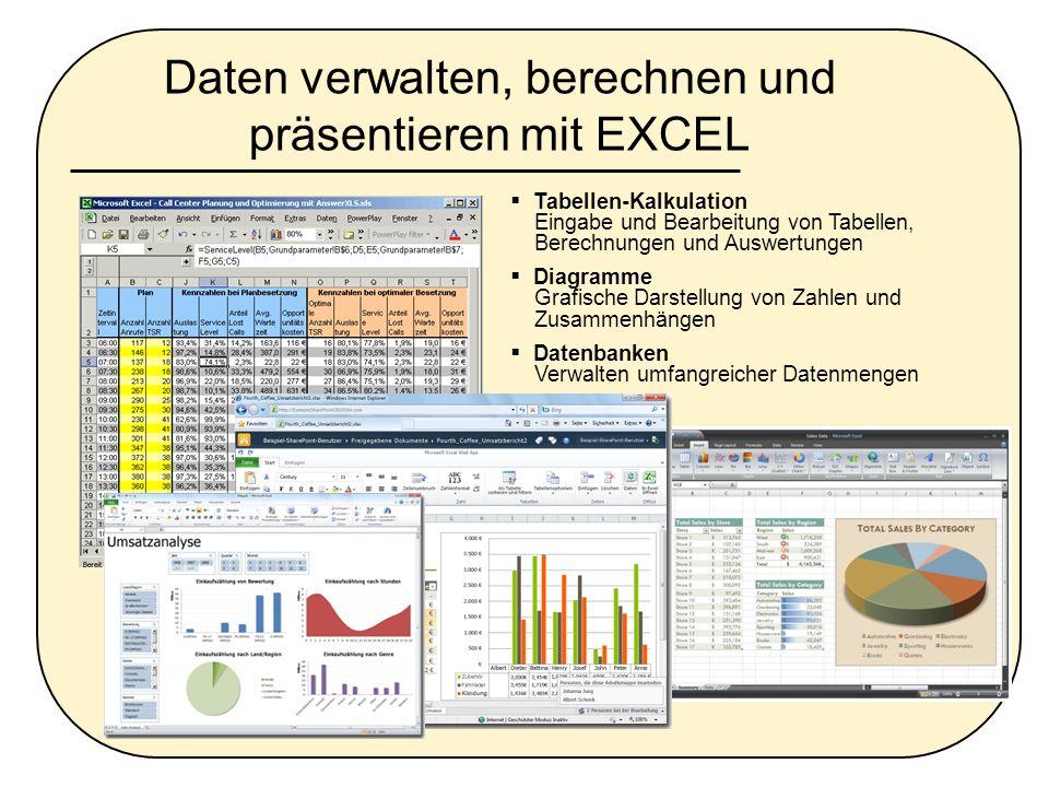 Daten verwalten, berechnen und präsentieren mit EXCEL Tabellen-Kalkulation Eingabe und Bearbeitung von Tabellen, Berechnungen und Auswertungen Diagram
