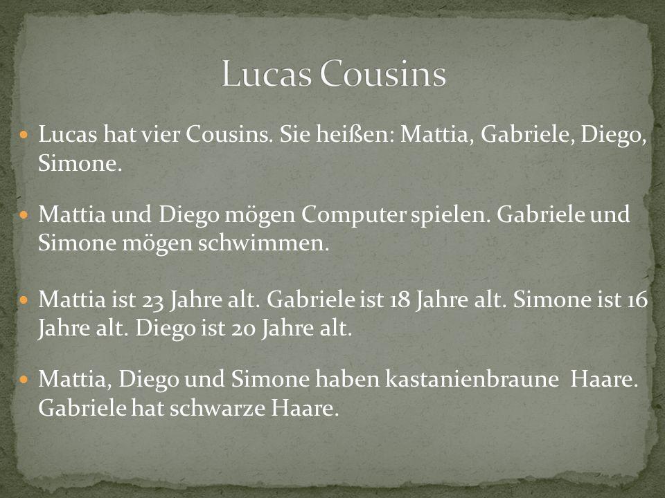 Lucas hat vier Cousins. Sie heißen: Mattia, Gabriele, Diego, Simone. Mattia und Diego mögen Computer spielen. Gabriele und Simone mögen schwimmen. Mat