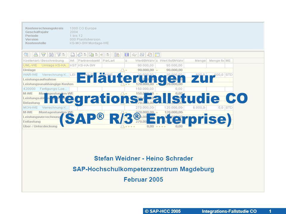© SAP-HCC 2005 Integrations-Fallstudie CO 1 Erläuterungen zur Integrations-Fallstudie CO (SAP ® R/3 ® Enterprise) Stefan Weidner - Heino Schrader SAP-