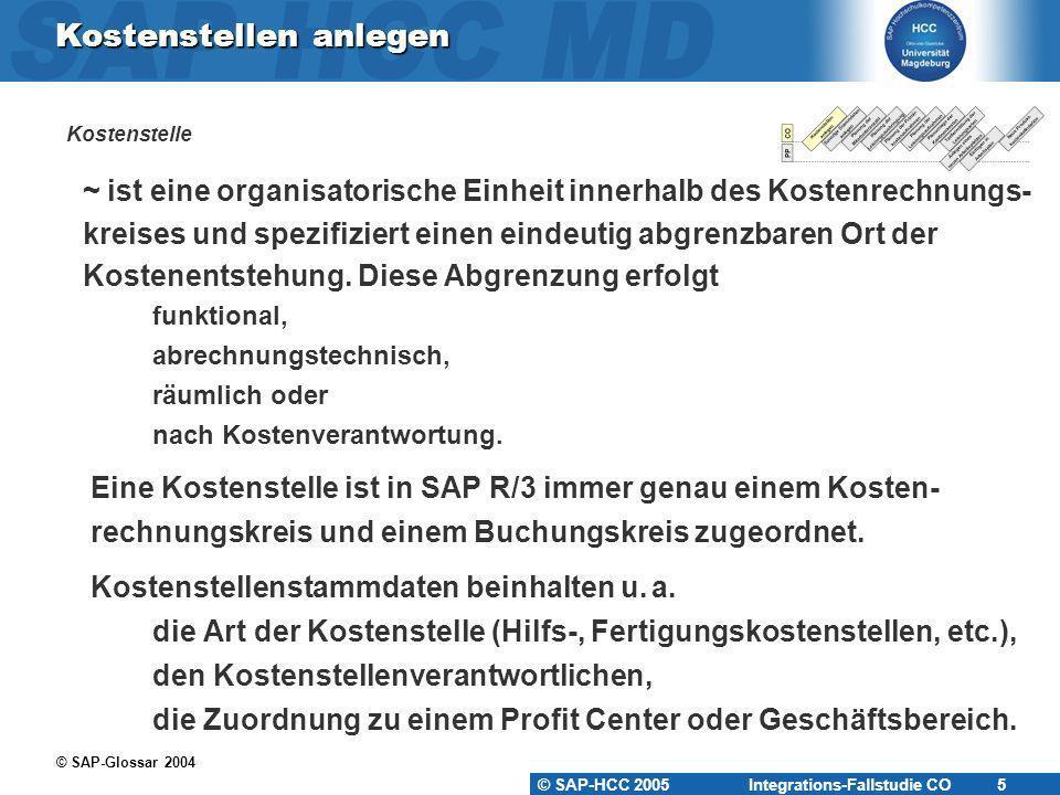 © SAP-HCC 2005 Integrations-Fallstudie CO 6 KS-KA-## KAntine (Hilfskostenstelle) KS-WA-## WArtung (Hilfskostenstelle) KS-MO-## MOntage (Fertigungskostenstelle) Kostenstellen anlegen
