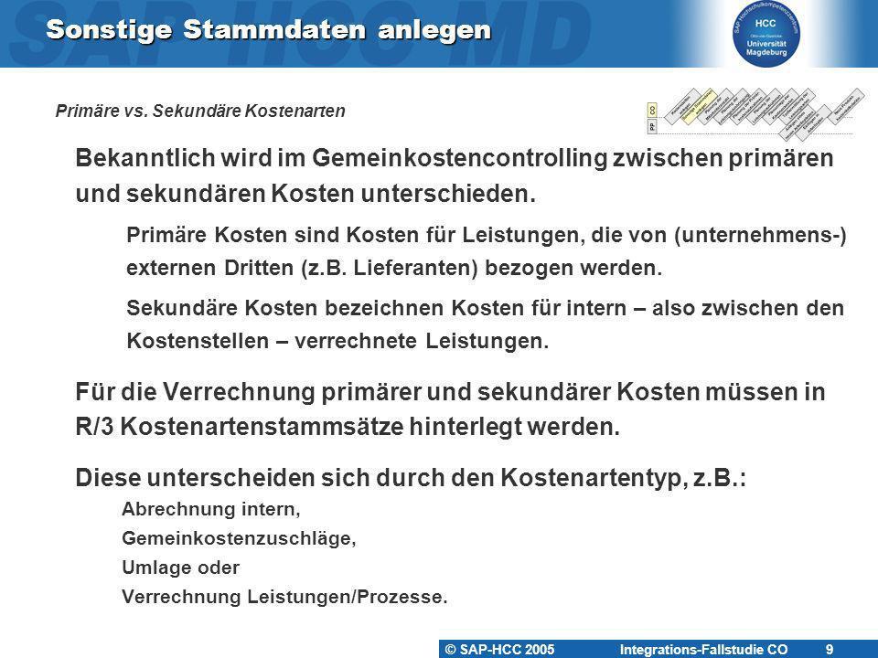 © SAP-HCC 2005 Integrations-Fallstudie CO 10 Sonstige Stammdaten anlegen Primäre vs.