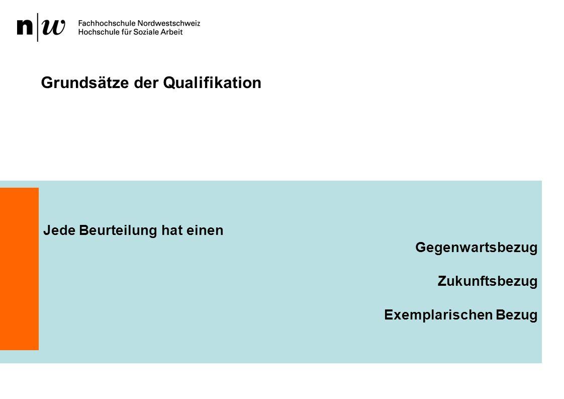 Grundsätze der Qualifikation Jede Beurteilung hat einen Gegenwartsbezug Zukunftsbezug Exemplarischen Bezug