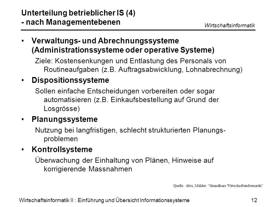 Wirtschaftsinformatik II : Einführung und Übersicht Informationssysteme Wirtschaftsinformatik 12 Unterteilung betrieblicher IS (4) - nach Managementeb