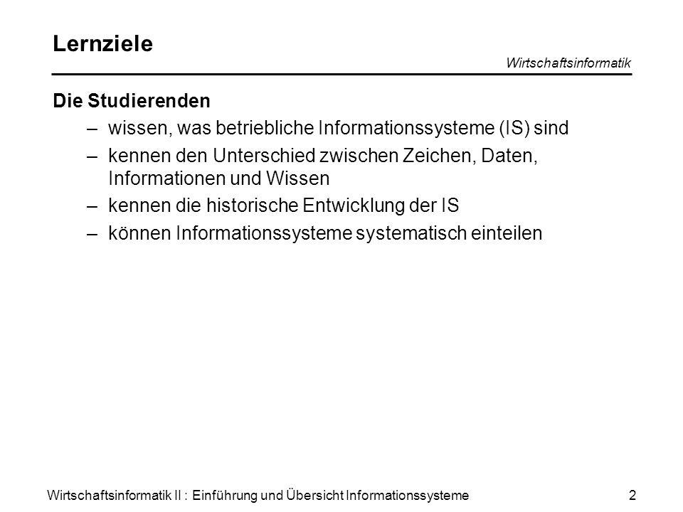 Wirtschaftsinformatik II : Einführung und Übersicht Informationssysteme Wirtschaftsinformatik 2 Lernziele Die Studierenden –wissen, was betriebliche I
