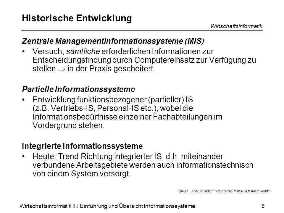 Wirtschaftsinformatik II : Einführung und Übersicht Informationssysteme Wirtschaftsinformatik 9 Unterteilung betrieblicher IS (1) Nach Integrationsgrad Nach Geschäftsprozessen Nach Managementebenen Abgrenzung in Praxis schwer durchführbar.