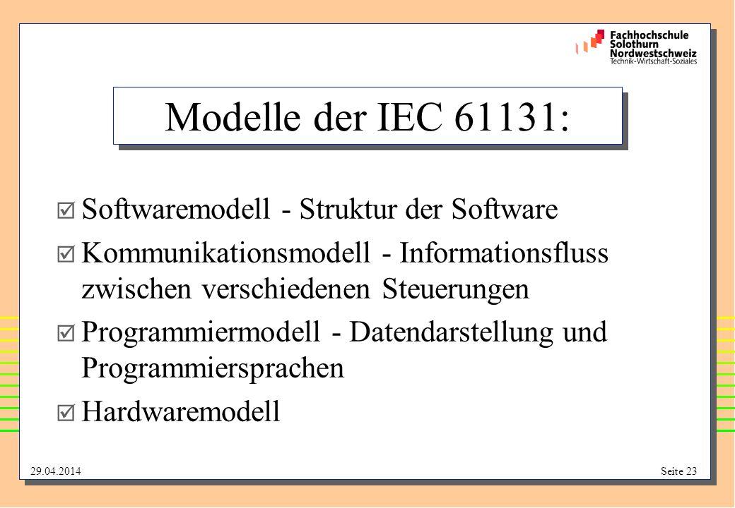29.04.2014Seite 23 Modelle der IEC 61131: Softwaremodell - Struktur der Software Kommunikationsmodell - Informationsfluss zwischen verschiedenen Steuerungen Programmiermodell - Datendarstellung und Programmiersprachen Hardwaremodell