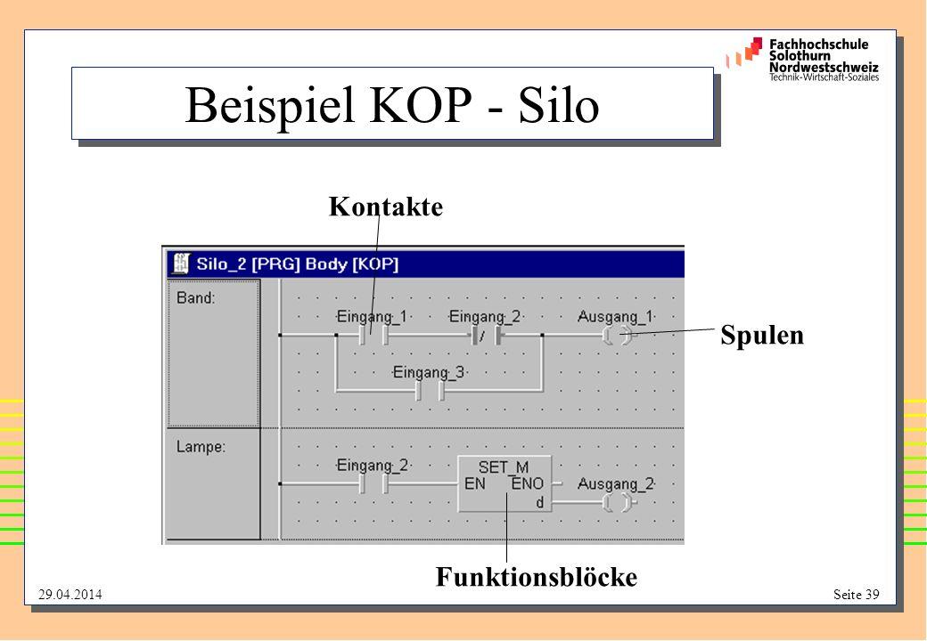 29.04.2014Seite 39 Beispiel KOP - Silo Kontakte Spulen Funktionsblöcke