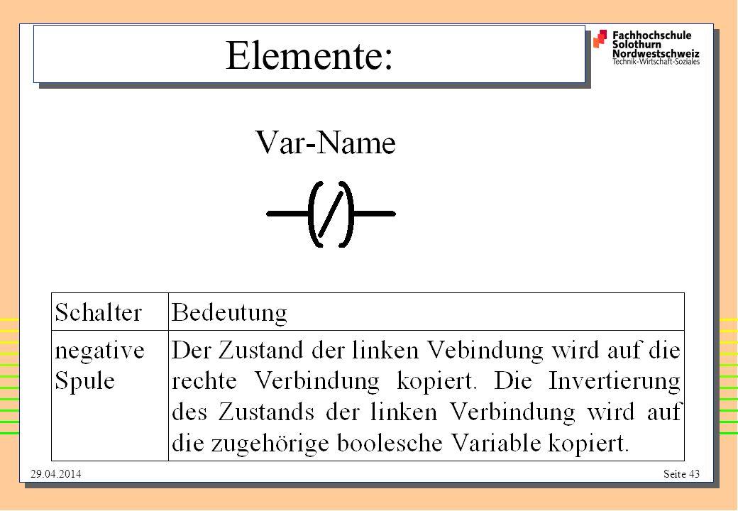 29.04.2014Seite 43 Elemente: