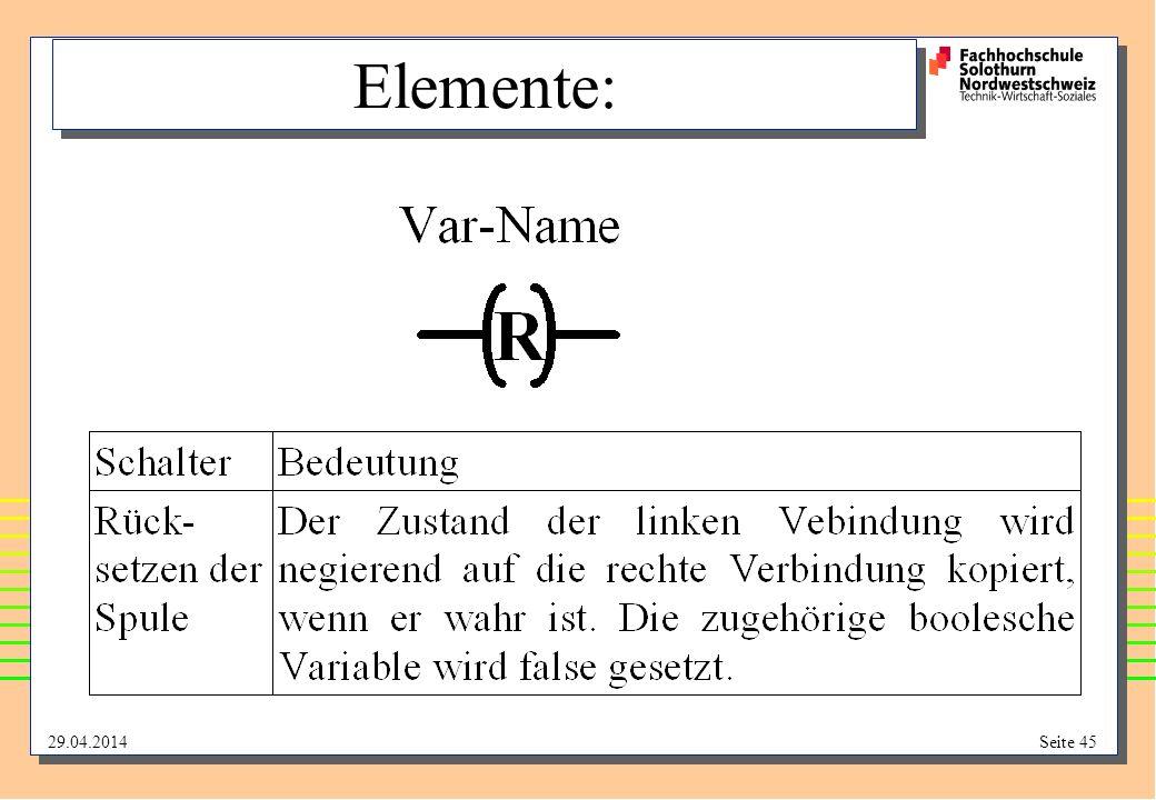29.04.2014Seite 45 Elemente: