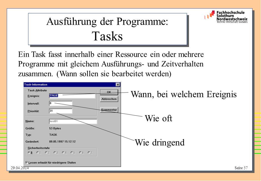 29.04.2014Seite 57 Ausführung der Programme: Tasks Ein Task fasst innerhalb einer Ressource ein oder mehrere Programme mit gleichem Ausführungs- und Zeitverhalten zusammen.