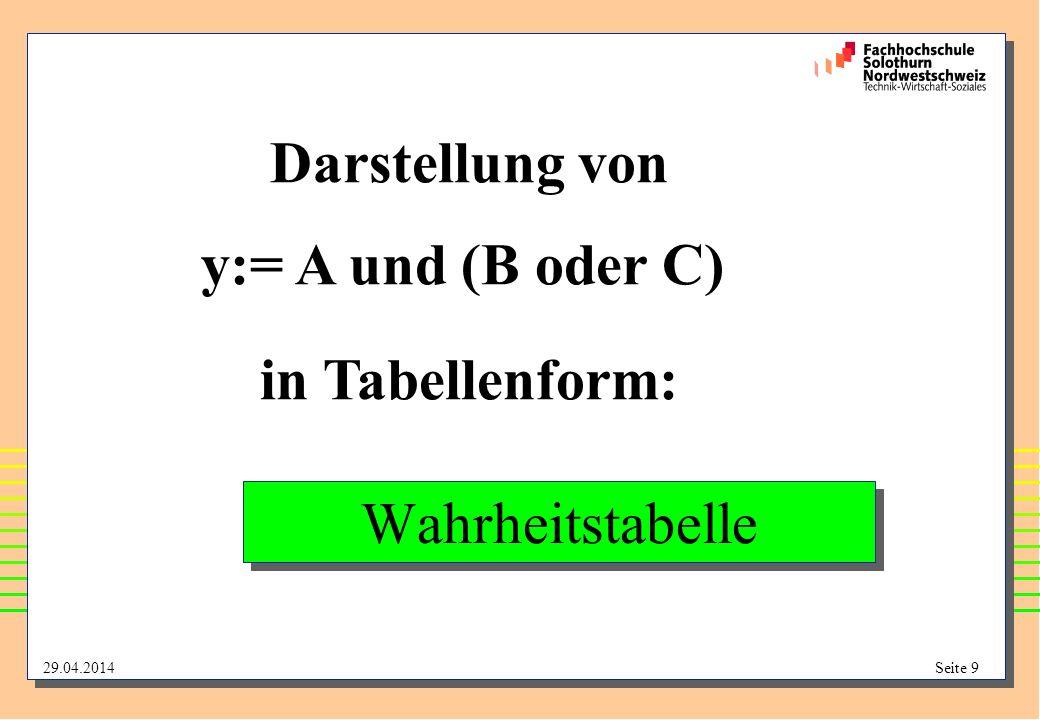 29.04.2014Seite 9 Wahrheitstabelle Darstellung von y:= A und (B oder C) in Tabellenform:
