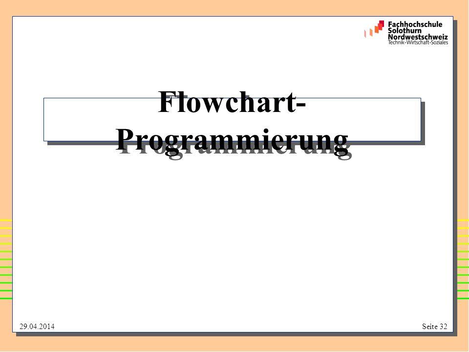 29.04.2014Seite 32 Flowchart- Programmierung
