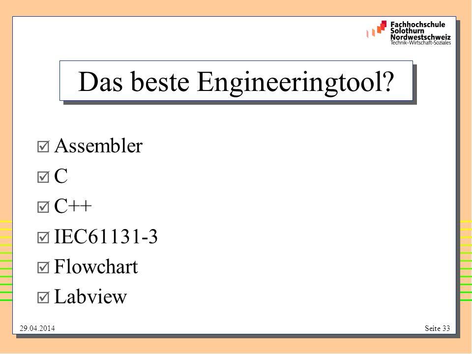 29.04.2014Seite 33 Das beste Engineeringtool? Assembler C C++ IEC61131-3 Flowchart Labview