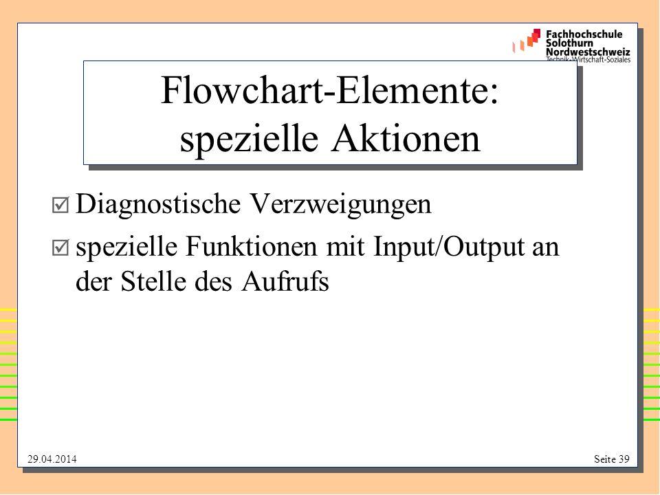 29.04.2014Seite 39 Flowchart-Elemente: spezielle Aktionen Diagnostische Verzweigungen spezielle Funktionen mit Input/Output an der Stelle des Aufrufs