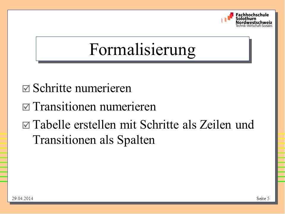 29.04.2014Seite 5 Formalisierung Schritte numerieren Transitionen numerieren Tabelle erstellen mit Schritte als Zeilen und Transitionen als Spalten