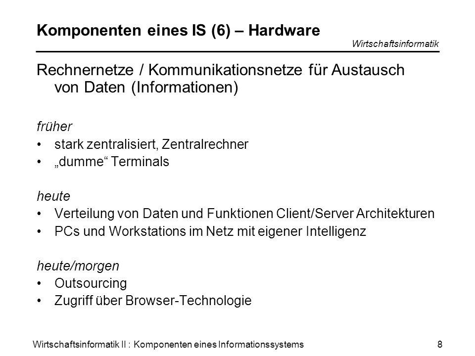 Wirtschaftsinformatik II : Komponenten eines Informationssystems Wirtschaftsinformatik 8 Komponenten eines IS (6) – Hardware Rechnernetze / Kommunikat