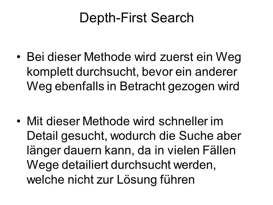 Depth-First Search Bei dieser Methode wird zuerst ein Weg komplett durchsucht, bevor ein anderer Weg ebenfalls in Betracht gezogen wird Mit dieser Met