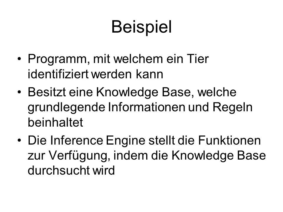 Beispiel Programm, mit welchem ein Tier identifiziert werden kann Besitzt eine Knowledge Base, welche grundlegende Informationen und Regeln beinhaltet