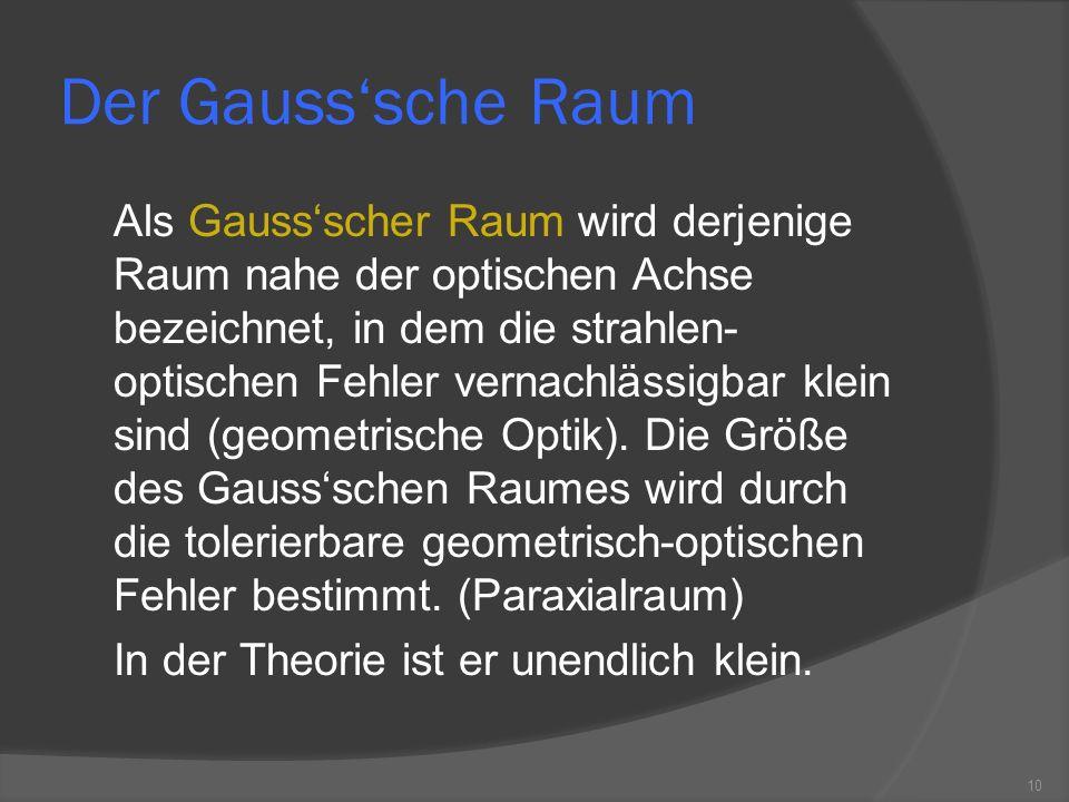 Der Gausssche Raum Als Gaussscher Raum wird derjenige Raum nahe der optischen Achse bezeichnet, in dem die strahlen- optischen Fehler vernachlässigbar klein sind (geometrische Optik).