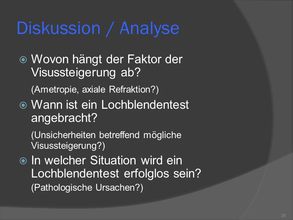 Diskussion / Analyse Wovon hängt der Faktor der Visussteigerung ab? (Ametropie, axiale Refraktion?) Wann ist ein Lochblendentest angebracht? (Unsicher